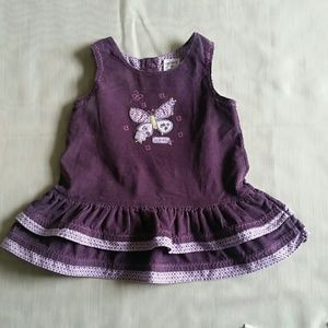 Purple Corduroy Butterfly Ruffle Dress
